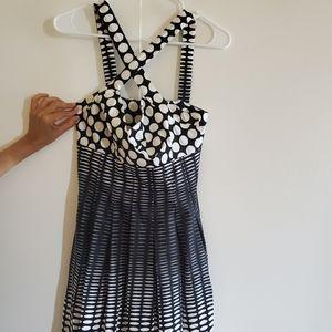 Halter black n white Dress